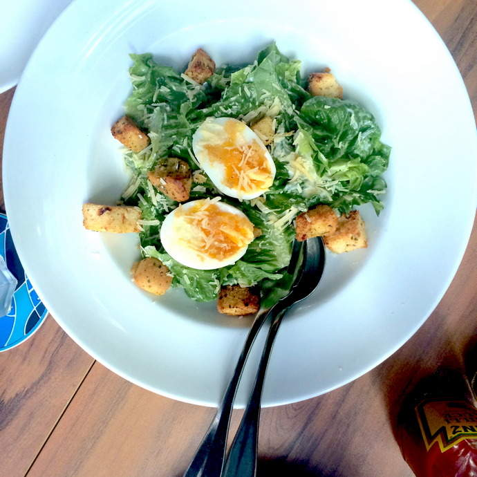 The light and delicious Ceaser Salad with Tamago.