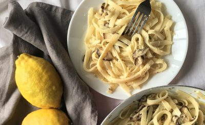 lemon-pasta-mushrooms-herbs