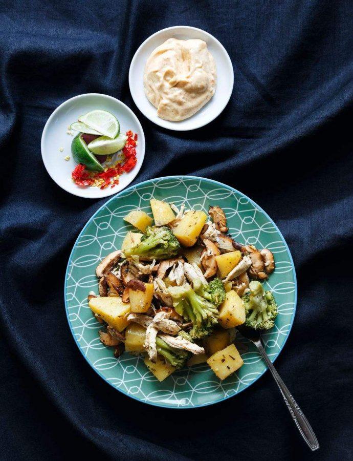 Warm potato salad with shredded chicken