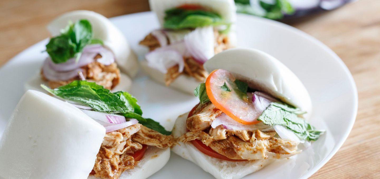 Pulled Chicken Mantou Sliders