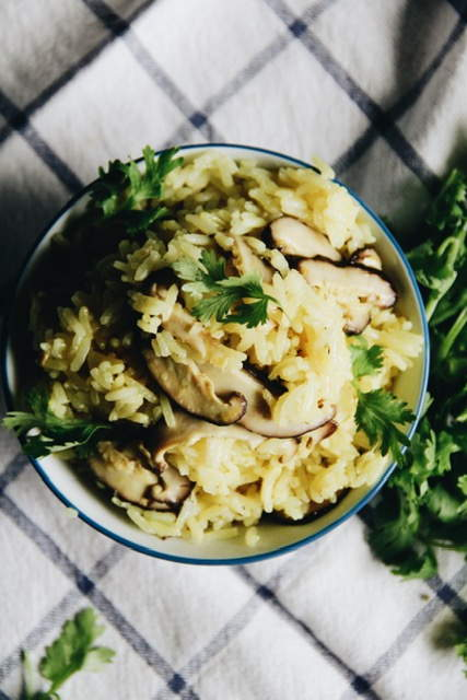 Lemon Rice with Mushrooms