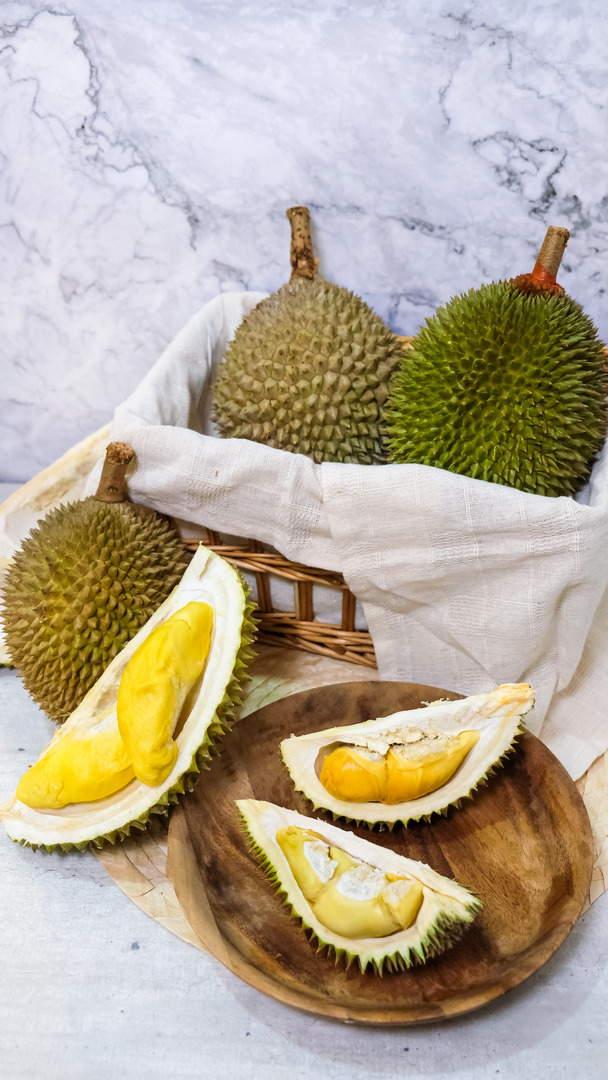 durian cultivars - l-r, clockwise - d13, golden phoenix, mao shan wang