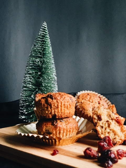 Dried-Cranberry Muffins for Christmas