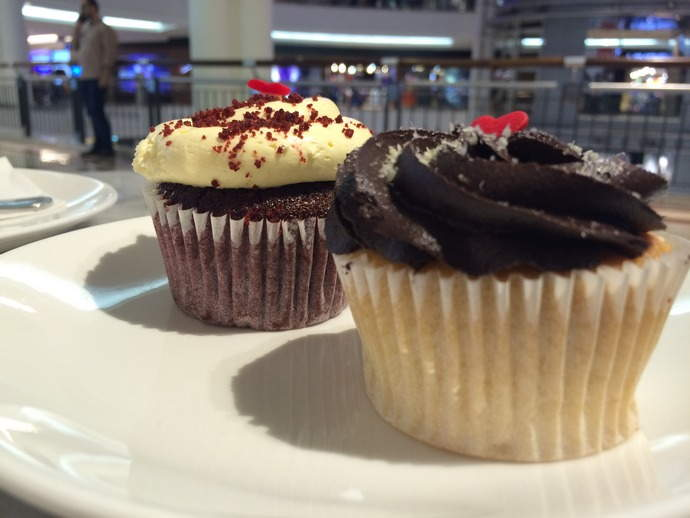 Cupcakes at KLCC. The chocolate one was actually a Lamington Cupcake.