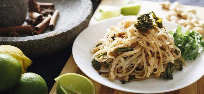 Sambal Olek Noodles with Mushrooms and Kale