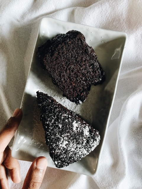 Dark eggless chocolate cake