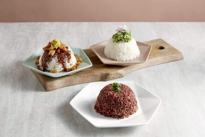 Crystal Jade Hong Kong Kitchen (GW) - Pork Lardon Rice, Scallion Gingre Rice, Brown Rice